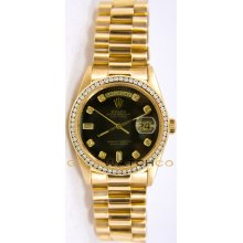 Rolex Mens 18K Yellow Gold President Day Date Model 18238 Custom Added Black Diamond Dial & Diamond Bezel