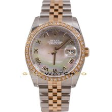 Rolex Mens New Style Heavy Band Stainless Steel & 18K Rose Gold Datejust Model 116231 Jubilee Band & Factory Tehetian Mother Of Pearl Roman Dial & A 1Ct Rose Gold Diamond Bezel
