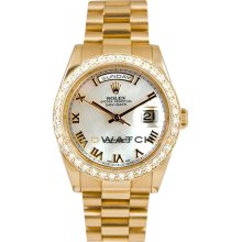 Rolex Mens New Style Heavy Band President Day Date Model 118238 Custom Added Mother Of Pearl Roman Dial & 2CT Diamond Bezel
