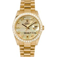 Rolex Mens New Style Heavy Band President Day Date Model 118238 Custom Added Mother Of Pearl Diamond Dial & 2CT Diamond Bezel