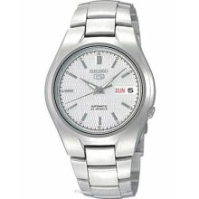 Seiko 5 Automatic Mens Watch White/Silver Textured Dial SNK601
