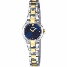 Seiko Ladies Diamond Blue Dial Two Tone Dress Quartz Watch SUJA76