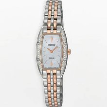 Seiko Ladies Rose Gold Two Tone Stainless Steel Solar Quartz Mother of Pearl Dial Swarovski Crystals SUP154