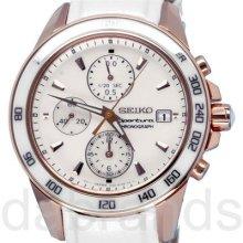 Seiko Ladies Sportura Chronograph White Mop Dial Wr100m Watch Sndx98 Sndx98p1