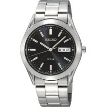 Seiko Men's Solar SNE039 Silver Stainless-Steel Quartz Watch with Black Dial
