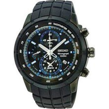 Seiko Snad87 Men's Black Ip Rubber Strap Motor Sports Chronograph Alarm Watch