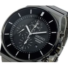Seiko Sndd83 P1 Sndd 83 100% Authentic Chronograph Watch Black Ip Stainless Stee