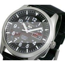 Seiko SNZG15J1 5 Military Nylon Strap Automatic Black Mens Watch