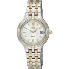 Seiko SUT020 Women's Dress Silver Dial Two Tone Stainless Steel Watch
