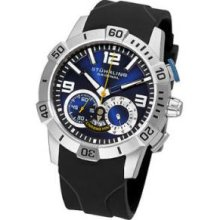 Stuhrling Original 265A.33166 Mens Multi Function on a Stainless Steel Case and Black Rubber Strap Blue Dial