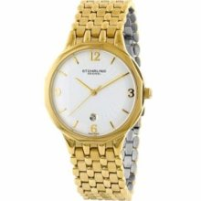 Stuhrling Original 603.32332 Mens Classic Lady Gatsby High Society II Slim Swiss Quartz with Yellowgold Case Silvertone Dial and Yellowgold Bracelet Watch