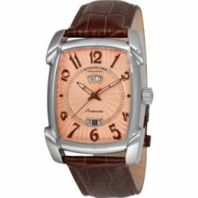 Stuhrling Original 98XL.3315K14 Mens Classic Millennia Visionaire Slim Swiss Quartz with Stainless Steel Case Copper Dial and Brown Leather Strap Watch