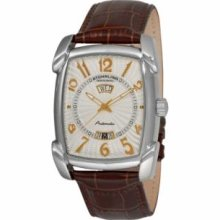 Stuhrling Original 98XL.3315K2 Mens Classic Winchester 44 Slim Swiss Quartz with Stainless Steel Case Silver Dial and Brown Leather Strap Watch