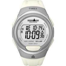 Timex Men's T5K609 Ironman Traditional 10-Lap White/Silvertone Watch (Timex Ironman Traditional 10-Lap T5K6099J)