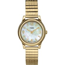 Timex Women's Gold-Tone Dress Watch, Stainless-Steel Expansion Band