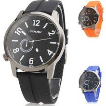 Unisex Silicone Analog Quartz Sport Wrist Watch (Silver)