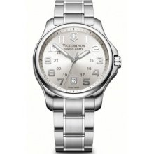 Victorinox 241359 Watch Officer Mens - Silver Dial Stainless Steel Case Quartz