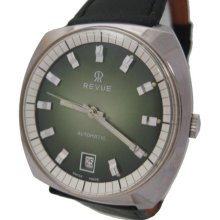 Vintage New old stock automatic Revue T5616D stainless steel waterproof mens Swiss watch 22 jewels