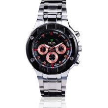 Weide Mens Fashion Black Chronograph Stainless Steel Swizz Quartz Watch W0039 - Silver - Other
