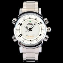 Weide Mens Fashion White Dial Stainless Steel Digital LED Quartz Watch W0027 - Silver - Stainless Steel