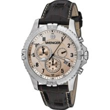 Wenger Mens Squadron Chronograph Stainless Watch - Brown Leather Strap - Champagne Dial - 77052