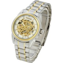 White Dial Mechanical Skeleton Automatic Stainless Steel Mens Wrist Watches