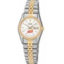 Women`s 2 Tone Seiko Watch W/ Silver White Dial & Stainless Steel Bracelet