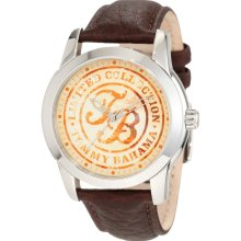 $115 New TOMMY BAHAMA Relax Mens Analog Steel Watch Brown Leather Band - Brown - Surgical Steel - 11.5