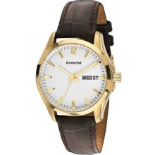 Accurist Men's Quartz Watch With White Dial Analogue Display And Brown Leather Strap Ms985w