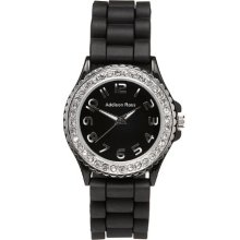 Addison Ross Unisex Quartz Watch With White Dial Analogue Display And Black Silicone Strap Wa0072