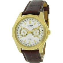 AG0162-07A - Citizen Quartz Muti-Dial WR 50m Elegant Leather Mens Gold Tone Watch