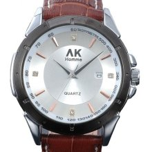 ★ Ak-homme ★ Mens Silver Face Brown Leather Calendar Quartz Wrist Watch Ak236