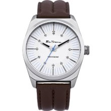 Ben Sherman Men's Quartz Watch With White Dial Analogue Display And Brown Leather Strap Bs006