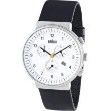 Braun Black Leather Band Chronograph W/ Date Classic Mens Analog Wrist Watch