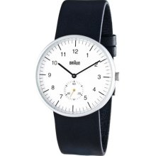 Braun Mens Analog Stainless Watch - Black Leather Strap - White Dial - BN-24WH