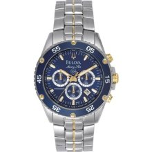Bulova Marine Star Mens Stainless & Goldtone Watch - Blue Dial - 96H37