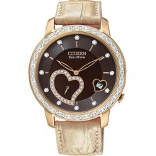 Citizen Ladies Eco-Drive Rose Gold Tone Stainless Steel Case Diamond Accents Heart Shaped Sub-Dial Brown Dial EV1003-09X