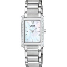 Citizen Ladies Stainless Steel Palidoro Eco-Drive Mother Of Pearl Dial Diamond Accented Bezel EX1130-50D