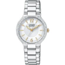 Citizen Ladies Stainless Steel Firenza Eco-Drive Diamond Bezel White Dial Sapphire EP5974-56A