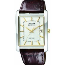 Citizen Men's Quartz Watch With White Dial Analogue Display And Brown Stainless Steel Strap Bm6784-06B