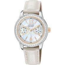 Citizen Womens Eco-Drive Silhouette Swarovski Stainless Watch - White Leather Strap - Pearl Dial - FD1036-09D