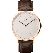 Daniel Wellington Mens York Classic Analog Stainless Watch - Dark Brown Leather Strap - White Dial - 0111DW