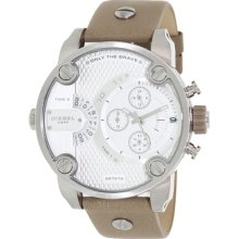 Diesel Men's DZ7272 Brown Leather Analog Quartz Watch with Silver Dial