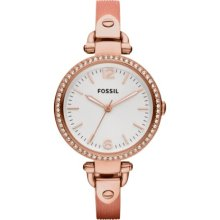 Fossil Georgia Three Hand Stainless Steel Watch Metallic Coral - ES3237