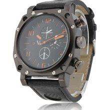 Gladiator - Men's Sport Quartz PC Wrist Watch with Black PU Leather Band