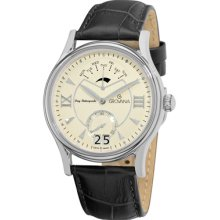 Grovana Watches Grovana Mens Silver Dial Black Leather Strap Watch Day