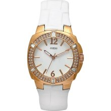 GUESS Women's W11558L1 Steel White Leather White Dial Watch, Makes A Great Gift.