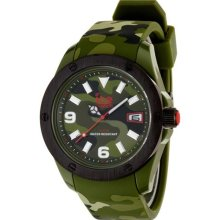 Ice-Watch Mens Ice Army Plastic Watch - Green Rubber Strap - Green Dial - IA.KA.XL.R.11