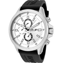 Invicta Men's 1836 Specialty Silver Dial Black Polyurethane Watch