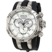 Invicta Mens Reserve Venom Silver Dial Swiss Made Chronograph Black Poly Watch
